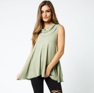 Free People | green waffle knit cowl neck top